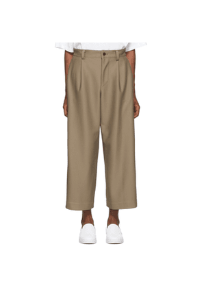 132 5. ISSEY MIYAKE Beige Knit Composite Trousers