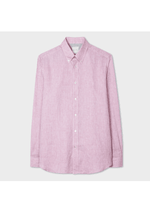 Men's Classic-Fit Pink Linen Shirt With Contrast Cuff Linings