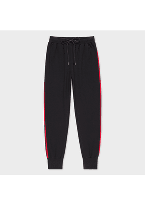 Women's Black Sweatpants With Red Stripe Trims