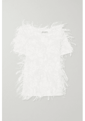 Valentino - Feather-embellished Cotton-jersey T-shirt - White