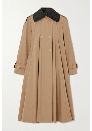 Loewe - Leather-trimmed Pleated Cotton-canvas Trench Coat - Beige