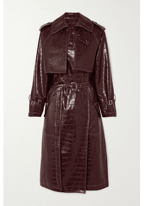 Sies Marjan - Eva Croc-effect Faux Leather Trench Coat - Burgundy