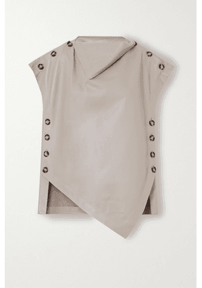 Proenza Schouler - Oversized Button-detailed Draped Leather Top - Gray