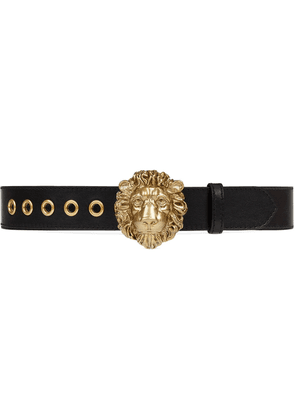 Gucci lion head buckle belt - Black