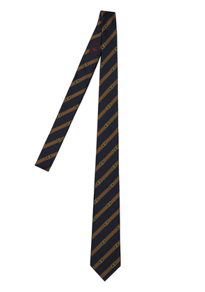 7cm Logo Striped Jacquard Silk Tie