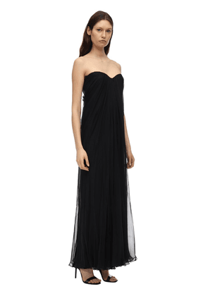 Draped Silk Chiffon Long Dress