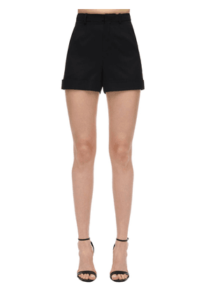 High Waist Wool Twill Shorts