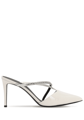 85mm Embellished Patent Leather Mules