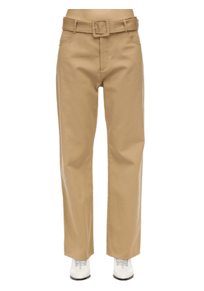 Belted Cotton Twill Wide Leg Pants