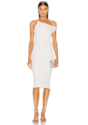 Michelle Mason Asymmetrical Rib Dress in Ivory - White. Size L (also in M,S,XS).