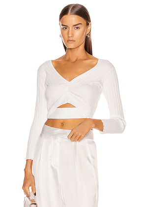 Michelle Mason Off Shoulder Rib Top in Ivory - White. Size L (also in M,S,XS).