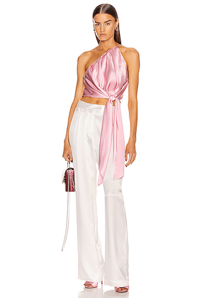 Michelle Mason One Shoulder Pleat Top With Tie in Petal - Pink. Size 0 (also in 2,4,6,8).
