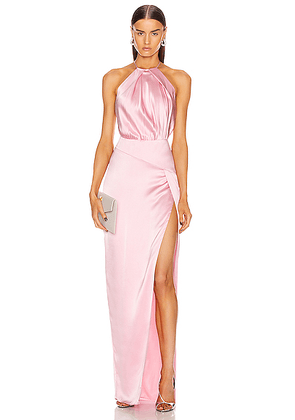 Michelle Mason Pleat Halter Gown With Slit in Petal - Pink. Size 4 (also in 6,8).