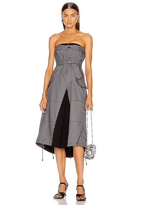 Maison Margiela Houndstooth Strapless Midi Dress in Black - Gray,Plaid. Size 38 (also in 40).