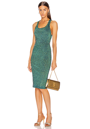 Cushnie Scoop Neck Sleeveless Knit Dress in Navy Iridescent - Blue,Green. Size L (also in M,S,XS).
