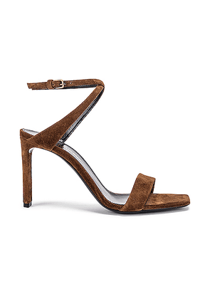 Saint Laurent Bea Bow Ankle Strap Sandals in Land - Brown. Size 37 (also in 36.5,37.5,38,38.5,39,40,41).