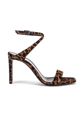 Saint Laurent Leopard Bea Bow Ankle Strap Sandals in Manto Naturale Caffe - Brown,Animal Print. Size 37 (also in 36.5,37.5,38,38.5,39,39.5,40,41).