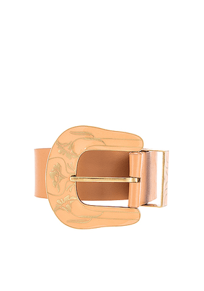 Johanna Ortiz Wandering Leather Belt in Old Rose - Brown,Neutral. Size L (also in M,S).