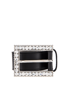 Alessandra Rich Rectangular Crystal Buckle Belt in Black - Black. Size L (also in M,S).