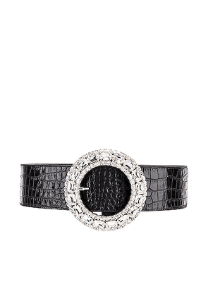 Alessandra Rich Croc Crystal Buckle Belt in Black - Black. Size M (also in L,S).