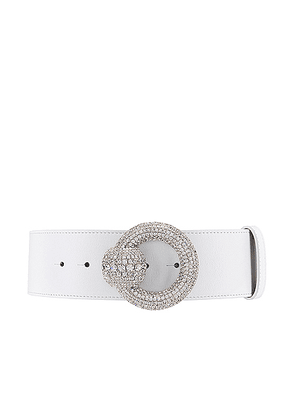 Alessandra Rich Circle Crystal Buckle Belt in White - White. Size L (also in M,S).