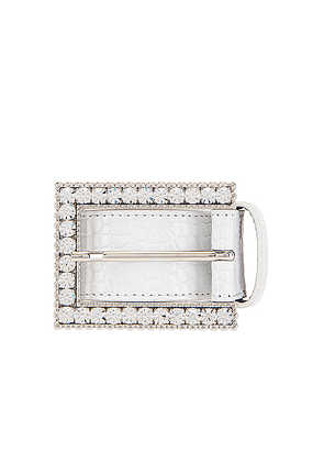 Alessandra Rich Rectangular Crystal Buckle Croc Belt in White - White. Size L (also in M,S).