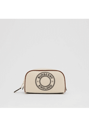 Burberry Small Logo Graphic Cotton Canvas Travel Pouch, Brown