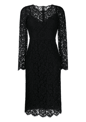 Dolce & Gabbana floral lace long-sleeve dress - Black