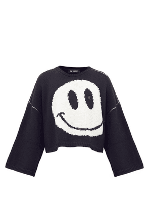 Raf Simons - Smiley-jacquard Cropped Wool Sweater - Mens - Black
