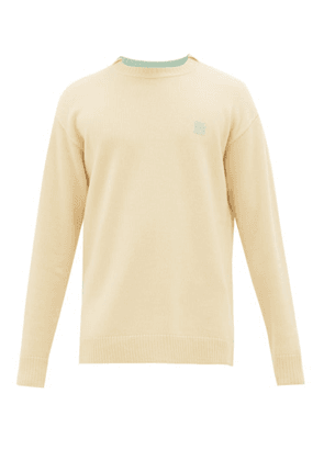 Loewe - Anagram-embroidered Wool Sweater - Mens - Light Yellow