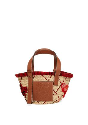 Loewe - Bird-embroidered Small Basket Bag - Womens - Red Multi