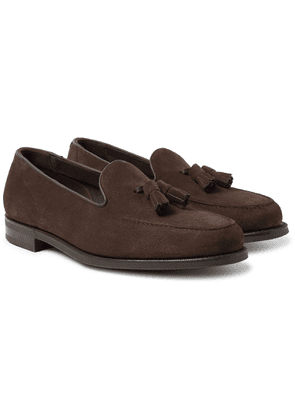 Edward Green - Cromer Leather-trimmed Suede Tassled Loafers - Brown