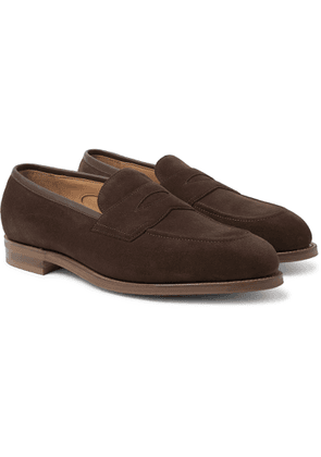 Edward Green - Piccadilly Leather-trimmed Suede Penny Loafers - Brown