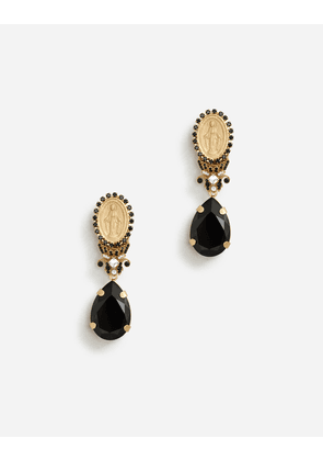 Dolce & Gabbana Bijoux - PENDANT EARRINGS WITH VOTIVE DECORATIONS AND RHINESTONES BLACK/GOLD