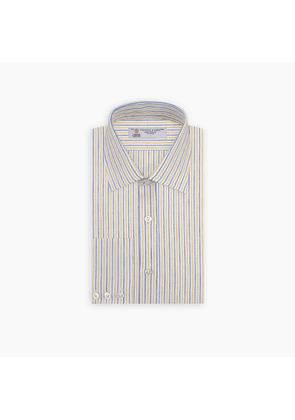 Yellow and Blue Ticking Stripe Linen Shirt with POW Collar and.