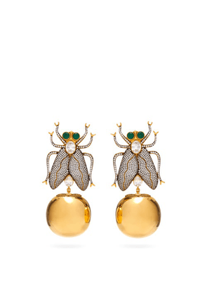 Begum Khan - Fly Away Crystal & 24kt Gold-plated Clip Earrings - Womens - Gold