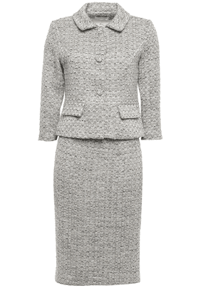 Mikael Aghal Metallic Tweed Skirt Suit Woman Stone Size 6