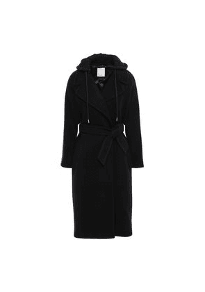 Sandro Belted Wool-blend Felt And Jersey Hooded Coat Woman Black Size 40