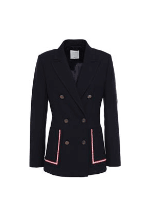 Sandro Laure Double-breasted Piqué Blazer Woman Midnight blue Size 42