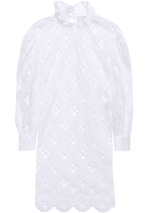 Sandro Ruffle-trimmed Broderie Anglaise Mini Dress Woman White Size 40