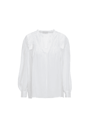 Sandro Lace-trimmed Washed-silk Blouse Woman Ecru Size 3