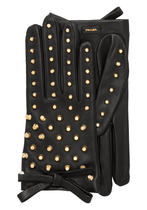 Prada short nappa leather gloves - Black