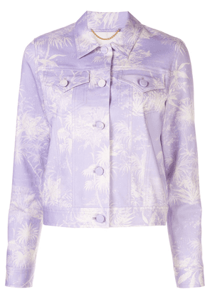 Adam Lippes cropped printed twill jacket - PURPLE
