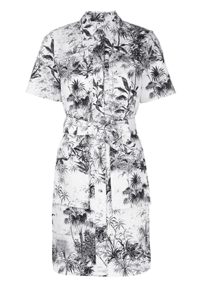 Adam Lippes belted printed twill shirt dress - White