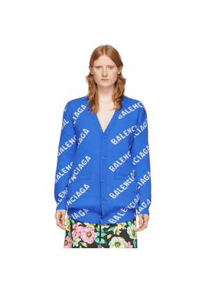 Balenciaga Blue and White All Over Logo Cardigan