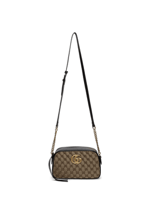 Gucci Beige and Black Small GG Marmont Shoulder Bag