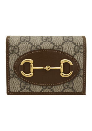 Gucci Beige and Brown GG Supreme Gucci 1955 Horsebit Wallet