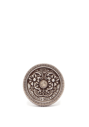 Alexander Mcqueen - Floral-embossed Medallion Ring - Mens - Silver