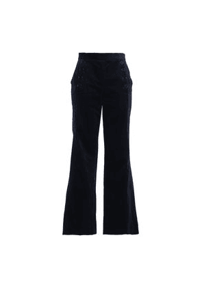 Sandro Button-detailed Stretch-cotton Corduroy Flared Pants Woman Midnight blue Size 36