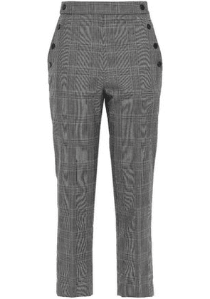 Sandro Cropped Button-embellished Woven Tapered Pants Woman Dark gray Size 40